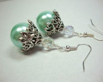 Light Green Baroque Pearl Earrings