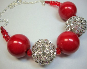 Bold Red and Crystal Necklace, Special Occasion, Statement Necklace