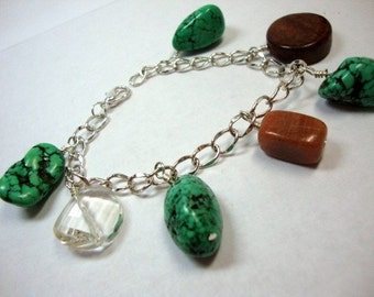 Chunky Green Charm Bracelet
