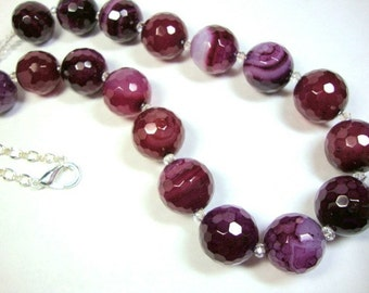 Women, Jewelry, Magenta Faceted Agate and Crystal Necklace, Purple Wine, Mother of the Bride, Wedding Necklace