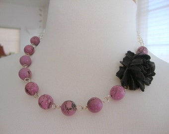 Black Rose with Lavender Necklace Bridesmaid Garden Wedding Jewelry