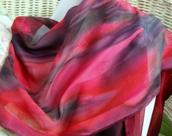 Scarf, Silk, Women, Hand Painted in Red and Black Silk Scarf Large Size