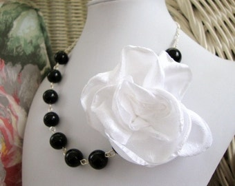 Silk Flower All Black and White Necklace Bridesmaid Wedding Jewelry