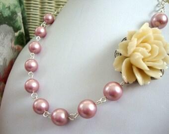 Pearls Cream Rose Necklace FREE Earrings Bridesmaid Wedding Jewelry Custom