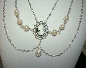 Cameo Princess Bride in Silver Prom Wedding Jewelry