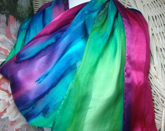 Scarf, Silk, Women, Fuschia Blue Purple Green Hand Dyed Silk Scarf Hawaii