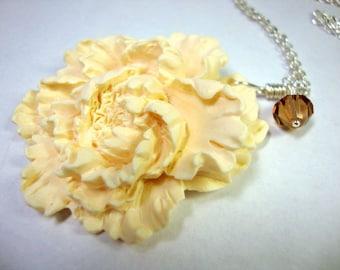 Ivory Peony Necklace Bridesmaid Jewelry Garden Wedding