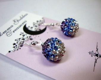 Purple Aqua Crystal Earrings