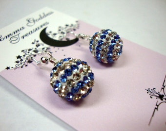 Blue Striped Crystal Earrings