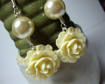 Ivory Flower Earrings Formal Occasion Bridal Prom Wedding Jewelry