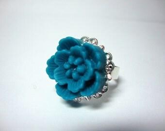 Dark Aqua Floral Ring