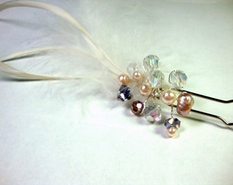 Pearl Crystal Feather Hair Pin Fascinator