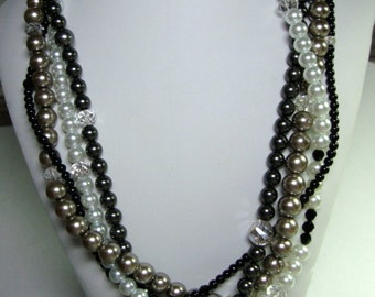 Women, Multiple Strand, Black Gray White Pearl & Crystal Necklace Bridesmaid Mother of the Bride Formal Occasion Jewelry
