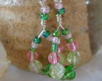 Pink Green Dangle Carnival Earrings