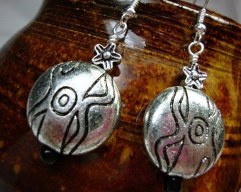 Aztec Silver tone Earrings
