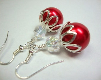 Red Pearl & Crystal Earrings Formal Occasion Holiday Wedding Jewelry