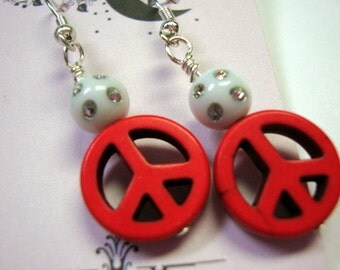 Peace Sign Earrings in Red White
