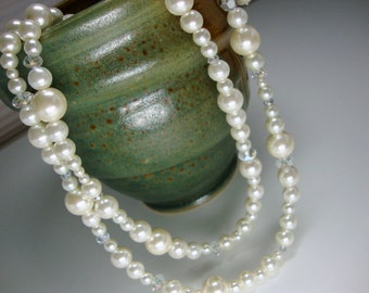 Double Strand Pearl and Crystal Necklace Bridal Bridesmaid Mother Wedding Formal Occasion Jewelry
