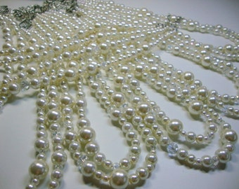 Bridesmaid Double Strand Pearl and Crystal Necklaces