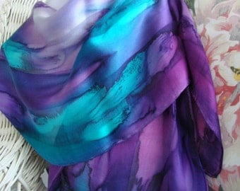Hand Dyed Northern Lights Hand Dyed Silk Scarf Large Size