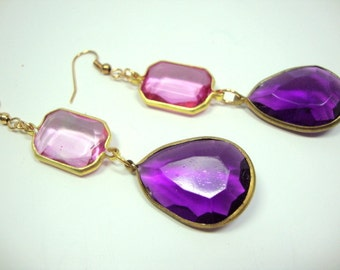Her Majesty Amethyst and Pink Vintage Earrings