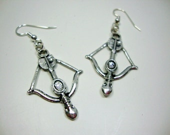 Hunger Games Inspired Silver Bow Arrow Earrings