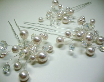 Pearl and Crystal Hair Pin Bridal Wedding Accessories