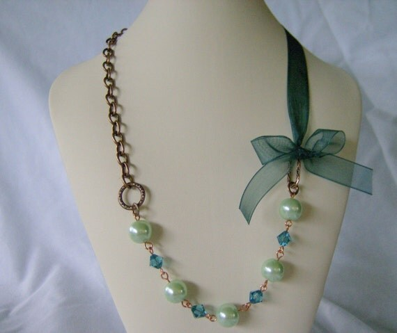 Tara Necklace in Indicolite Bridesmaid Maid of Honor Wedding Necklace Pearls Crystals Chains Ribbon