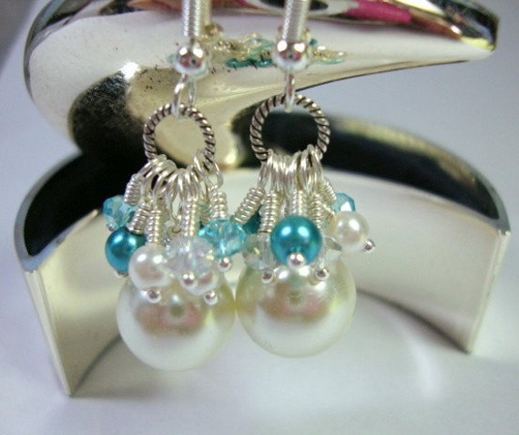 Glam Pearl Earrings with Teal Formal Occasion Wedding Jewelry
