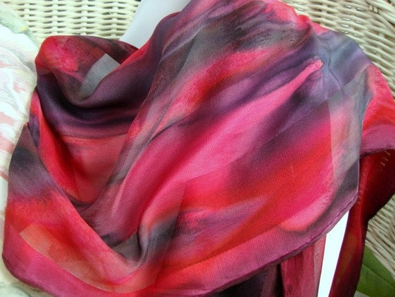 Scarf, Silk, Women, Hand Painted in Red and Black Silk Scarf