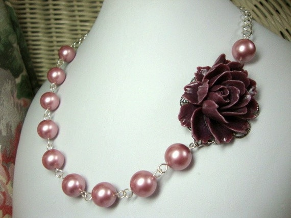 Pearl Rose Necklace FREE Earrings Bridesmaid Wedding Jewelry Custom Colors