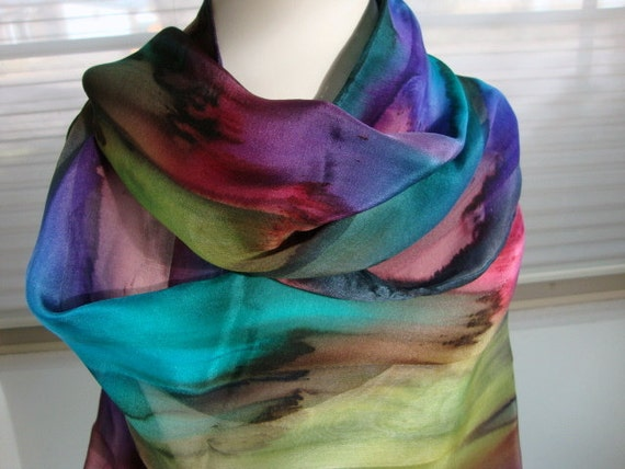 Silk Scarf, Hand Dyed, Hand Painted, Over the Rainbow Silk Winter Theme Scarf, Gift for Women
