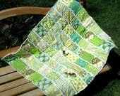 Rag Quilt / Strip Quilt / Patchwork Quilt, Baby, 100% cotton, baby rag quilt, Shades of Green - Made to Order - LAST ONE