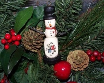 Norwegian Rosemaled Snowman Ornament