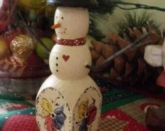 Norwegian Rosemaled Snowman Candleholder