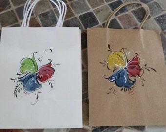 Norwegian Rosemaled Paper Gift Bags