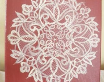 Scandinavian Hand Painted Lace on canvas