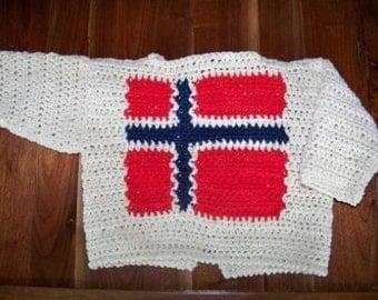Norwegian Flag Baby Sweater White