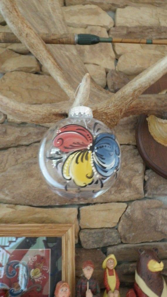 Norwegian Rosemaled Ball Ornament Unbreakable