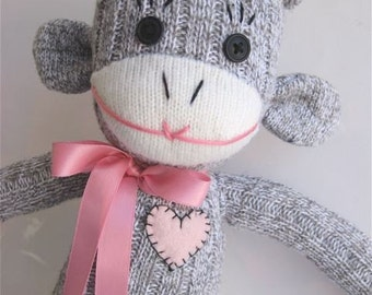 Sock Monkey Pink Ribbon for Breast Cancer