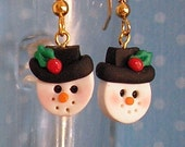 Snowman Christmas Holiday Earrings with Hat and Holly