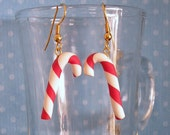 Candy Cane Dangle Earrings Red and White Candy Stripe / Gift Box Included