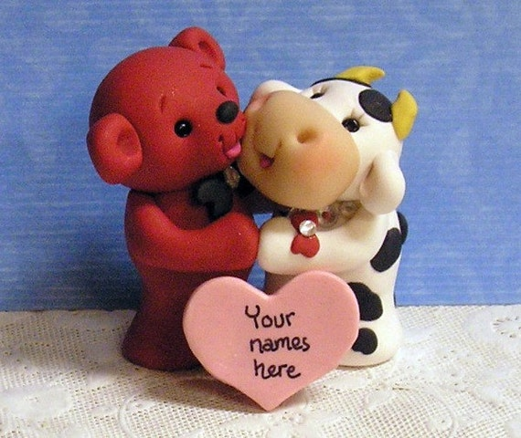 SPECIAL DISCOUNT Wedding Cake Topper Personalized  Keepsake Figurine Cow and Red Teddy Bear