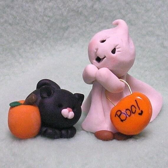 Baby Ghost, Cat and Pumpkin Halloween Miniature Ghost Black Cat and Pumpkin
