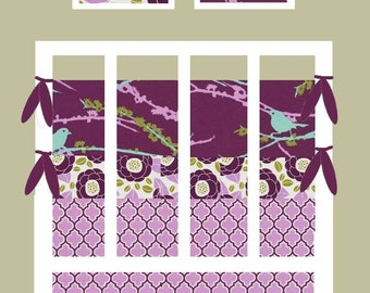 baby girl bedding custom made bird bedding in Aviary birds and blooms in lilac -  fitted sheet, bumper set, and crib skirt