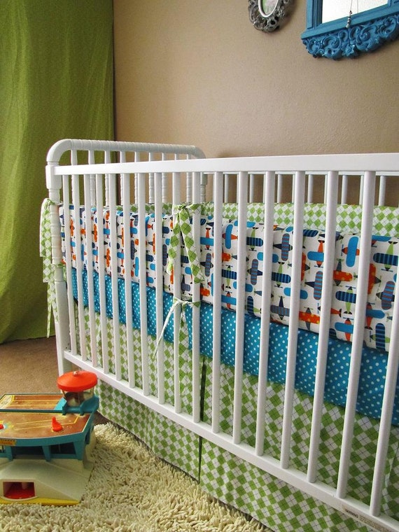 airplane bedding   baby bedding  Organic Airplanes  with bumper set , fitted sheet and crib skirt