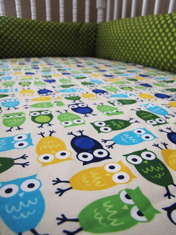 Baby Owl Bedroom Set: Byron The OWL Baby Bedding Set Fitted Sheet By