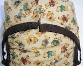 Diaper cover PUL lined Bears on Tan background size Small