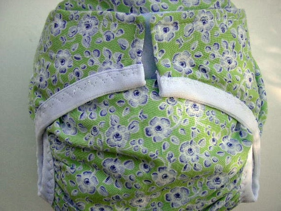 Diaper cover PUL lined Dusty Lavender floral printed on light mint background size Medium