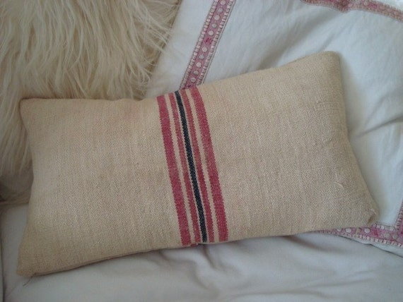 Navy And Pink Decorative Pillows: Grain Sack Throw Pillow Pink And Navy Stripe